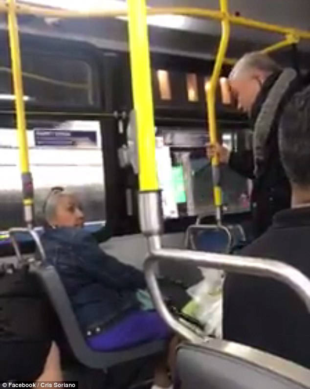 A video of an Asian man with a walker on a New York City bus yelling racist comments at a woman of color after she would not give up her seat went viral after it was shared by two young women on their way into Manhattan from Queens on Sunday