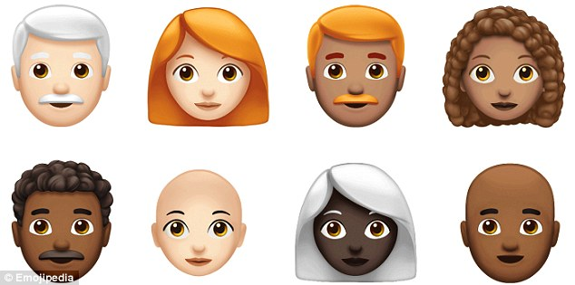 While Apple said it is introducing 70 new emoji, the total number should come closer to 150 when options for gender and skin tones are taken into account. Pictured are a selection of the new curly haired, bald, ginger and white-haired characters