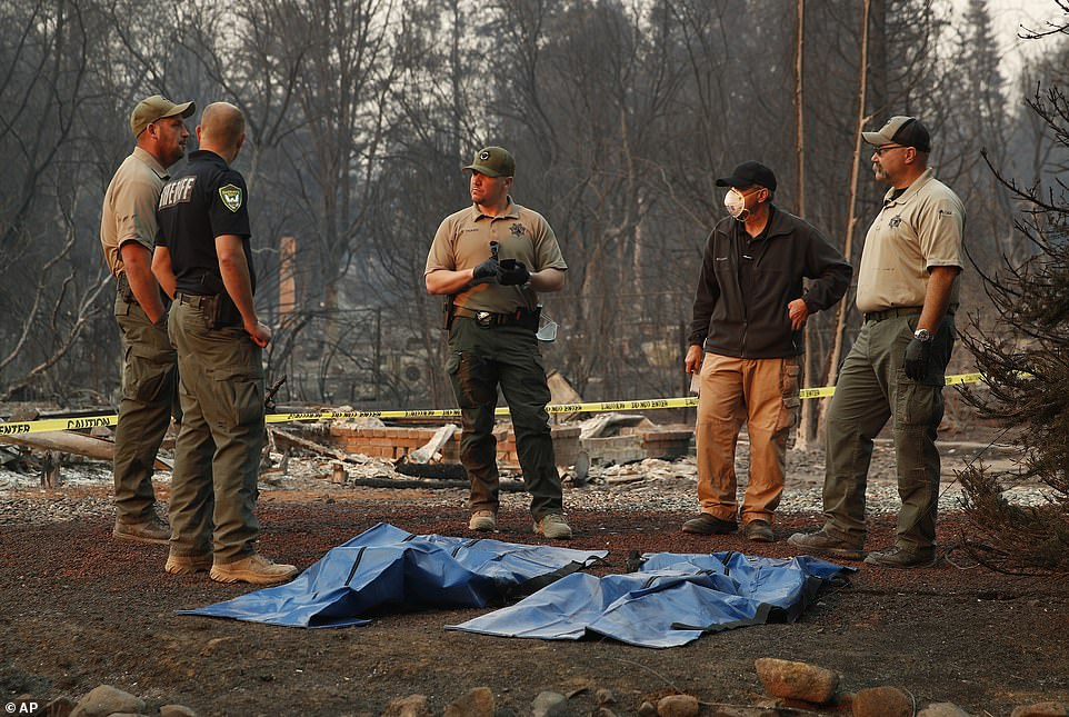At least 29 people have died in the Camp wildfire, making it the joint-deadliest in California's history alongside the Griffith Park fire which struck Los Angeles in 1933 (pictured, bodies are located in the town of Paradise)