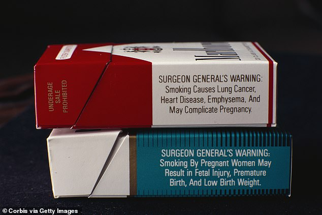Other warnings from years gone by have had a bit more detail, with wording such as, 'Smoking causes lung cancer, heart disease, emphysema, and may complicate pregnancy,' followed up by the more specific, 'Smoking by pregnant women may result in fetal injury, premature birth, and low birth weight'