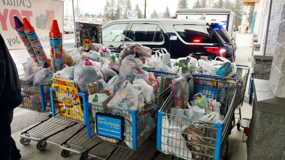 PHOTO: Walmart shopping carts are filled with toys for a donation drive in Hayden, a suburb of Coeur dAlene, Idaho, Dec. 15, 2018.