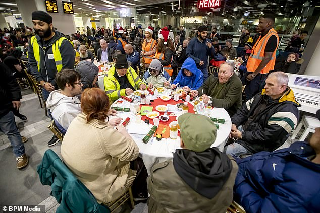 The free yuletide party included a three-course banquet for the rough sleepers who attended