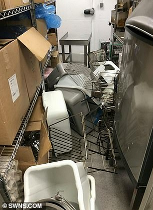 Pictures from inside the KFC restaurant in St Budeaux, Plymouth show food equipment strewn across the floor