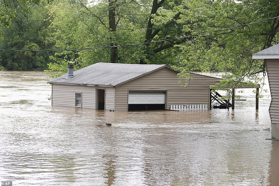 The NWS' Weather Prediction Center released a warning of a moderate risk of excessive rainfall, anticipating five to seven inches of rain across the region in states including Illinois, Iowa (pictured, is Ottumwa) and Missouri