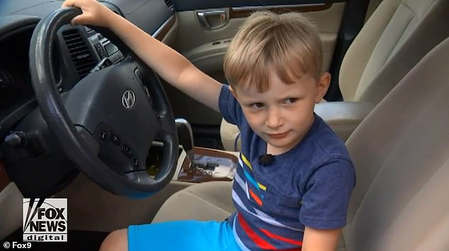 A mischievous 4-year-old boy, called Sebastian, (pictured), drove his great-grandfather's SUV almost two miles to a gas station because he wanted candy on Tuesday