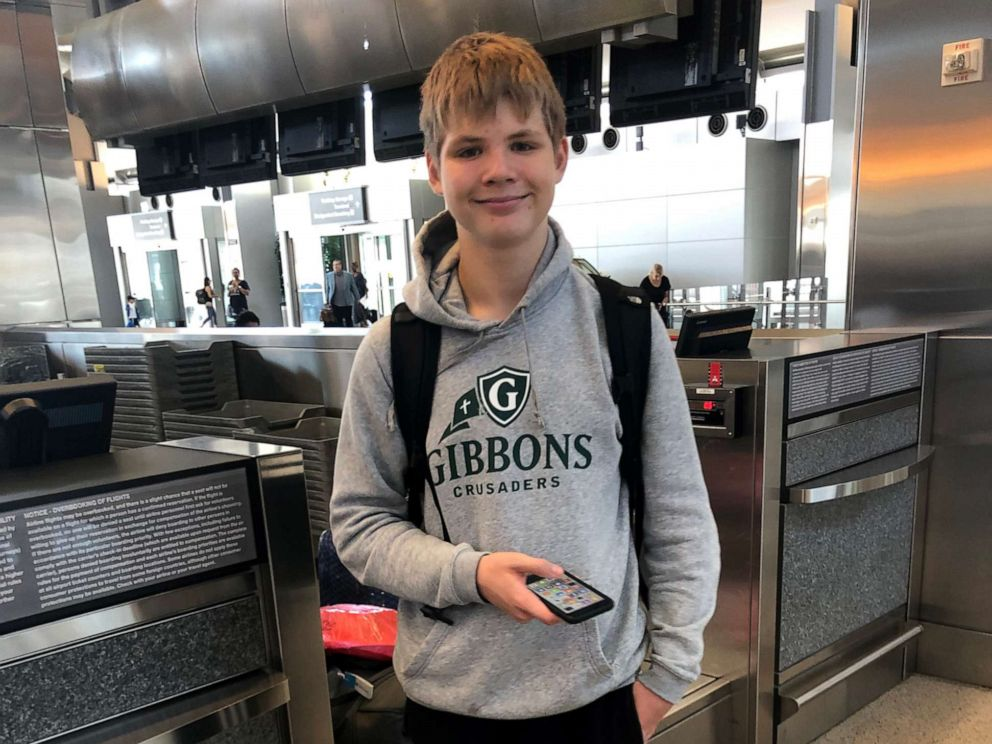 PHOTO: Anton Berg, 14, was put on flight to Germany instead of Sweden, June 30, 2019, mistakenly by a United representative.