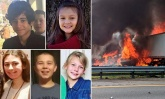 PICTURED: Five children killed in church van heading to Disney World after two big rigs collided and ignited, as it's revealed one of the truck drivers had received several traffic tickets